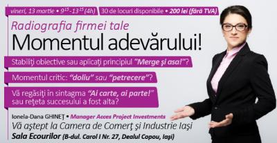 """(P) Acces Project Investments va invita pe 13 Martie 2015 la workshop-ul """"Radiografia firmei tale – momentul adevarului"""""""