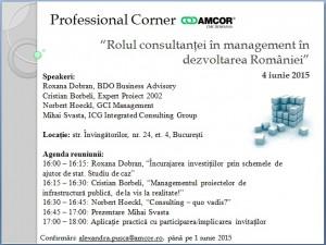 """Professional Corner """"Rolul Consultantei in Management in dezvoltarea Romaniei"""" – 4 iunie 2015"""