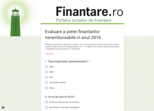 Finantare.ro realizeaza o evaluare a pietei finantarilor nerambursabile in anul 2016