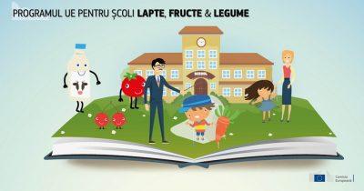 Lapte, fructe si legume pentru scolari cu sprijin UE
