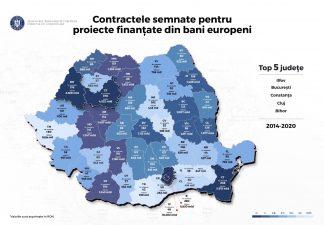 Topul zonelor care au atras cele mai multe fonduri europene în perioada 2014-2020